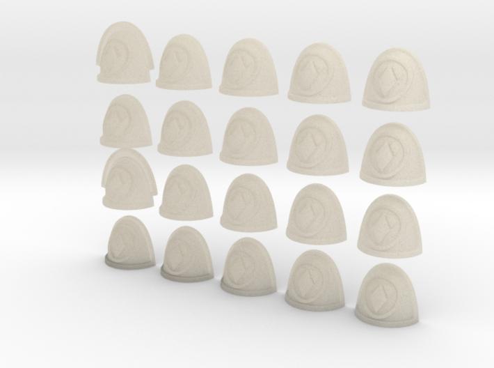20 28mm Custom Shoulder Pad Divided Diamond Circle 3d printed