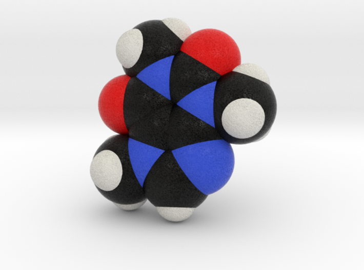 Caffeine SpaceFill Molecule Model 3d printed