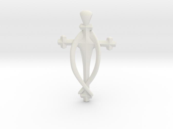 Fish Cross pendant 3d printed