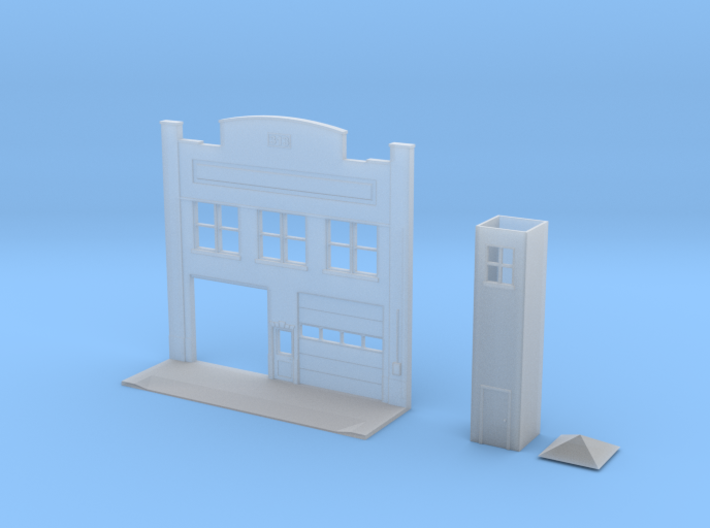 N-Scale Urban Fire Station Facade w/ Driveway 3d printed