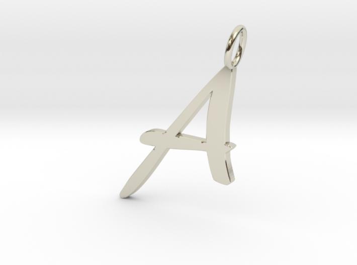 Classic Script Initial Pendant Letter A. 3d printed