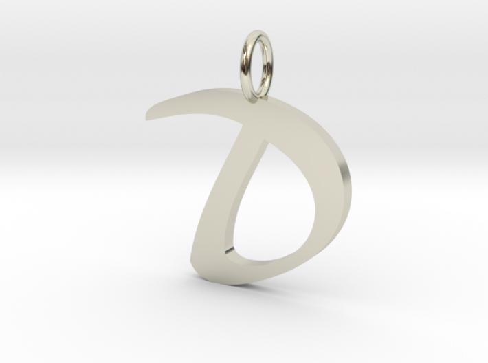 Classic Script Initial Pendant Letter D. 3d printed
