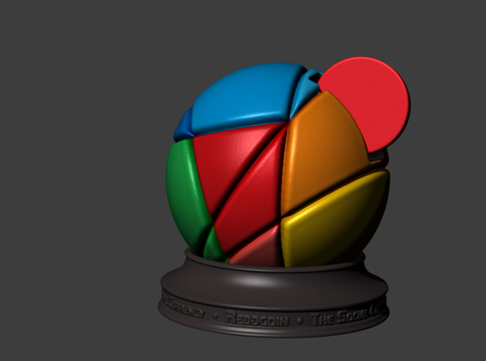 ReddCoin Spherical Logo 3d printed Quick render from Zbrush showing correct orientation and intended stand.