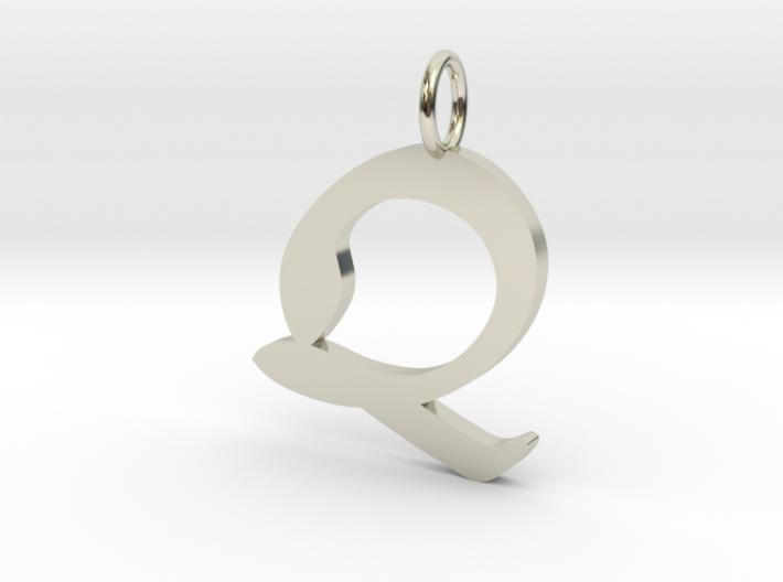 Q Classic Script Initial Pendant 3d printed