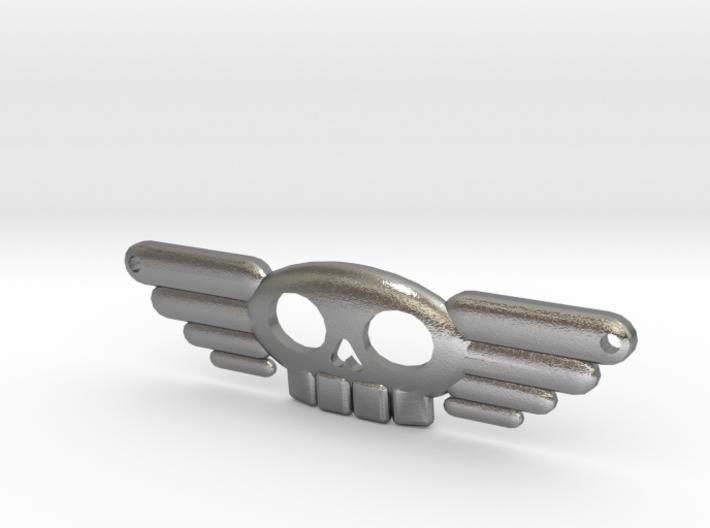 Winged Skull Sky Pirate Pendant 3d printed