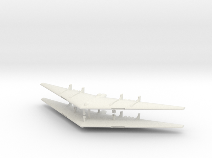 1/285 Northrop YB-49 Flying Wing (x2) 3d printed The only model of the Northrop YB-49 in 6 mm scale. Only two of these jet-powered YB-35 derivatives were built. They were passed over for production in favor of the more conventional B-36, possibly for political reasons. One of them made a noteworthy appe