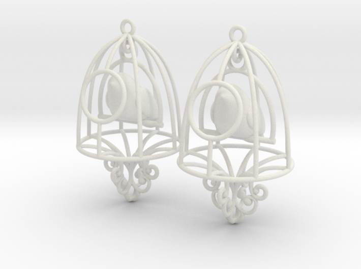 Bird in a Cage Earrings 07 3d printed