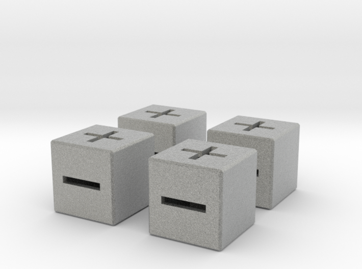 4 x 20mm Fate Dice with Medium Walls 3d printed