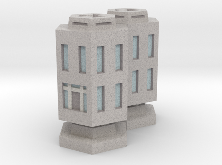 WHAM- Stackable Buildings w/ Rubble x2 (1/285th) 3d printed
