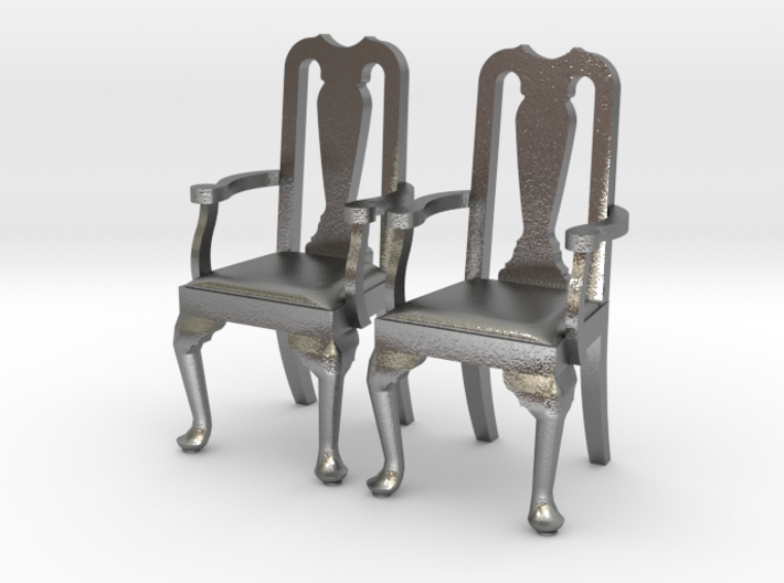 Pair of 1:48 Queen Anne Chairs, with arms 3d printed