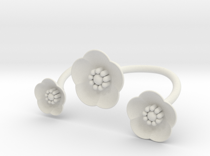 S46 Multi Flower Double Bypass Ring To Print BSF 3d printed