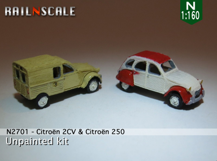 SET 2x Citroën 2CV (N 1:160) 3d printed