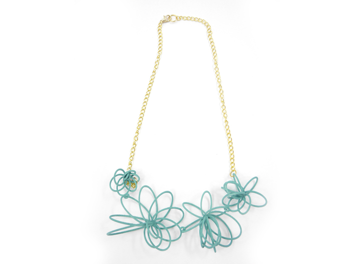 Flora Necklace 3d printed Teal (Custom Dyed Color)
