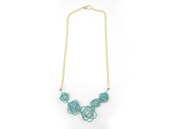Sprouted Spiral Necklace 3d printed Teal (Custom Dyed Color)