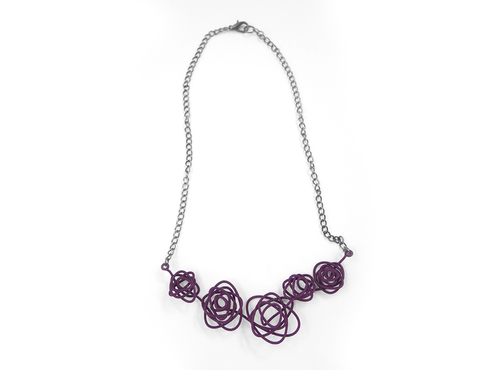 Sprouted Spiral Necklace 3d printed Eggplant (Custom Dyed Color)