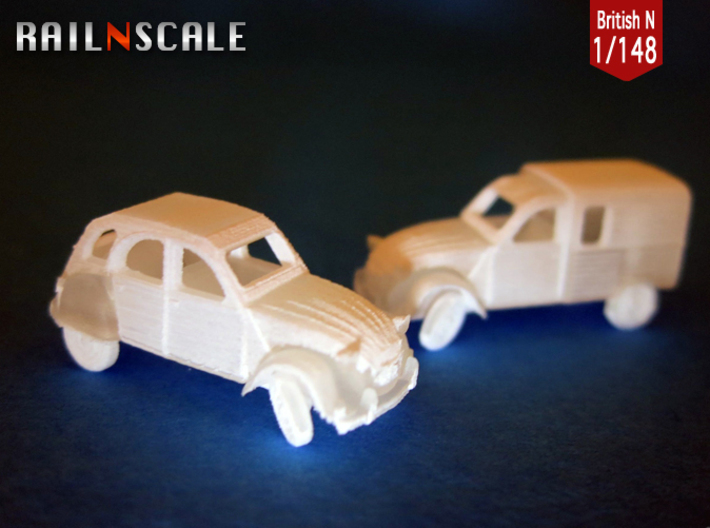 SET 2x Citroën 2CV - parked (British N 1:148) 3d printed