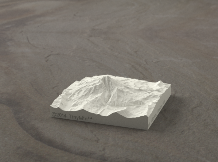 3'' Mt. Jefferson, Oregon, USA, Sandstone 3d printed Rendering of Mt. Jefferson model from the West side