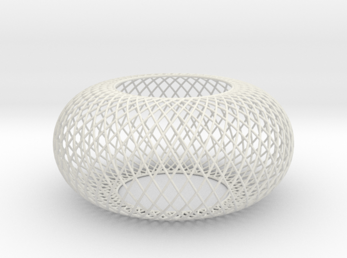 Torus Curved Line mesh wired 3d printed