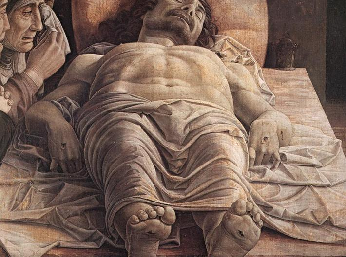 """The Goddess of Tranquillity 3d printed """"Dead Christ"""" by renaissance artist Andrea Mantegna. Note the artists use of perspective."""