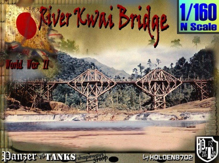 1-160 Bridge River Kwai 80 meters 3d printed