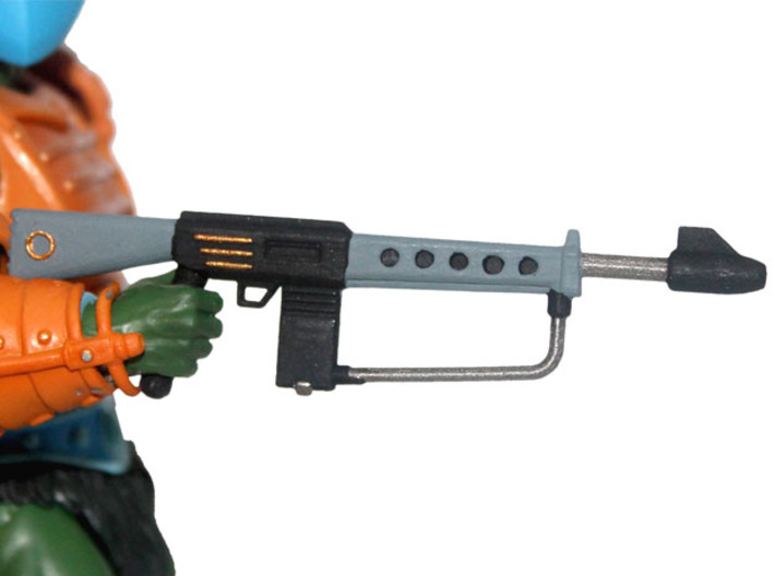 MOTUC Tech-Zeyra Mk. 1 Guard Rifle 3d printed Painted Prototype printed in White Strong & Flexible Polished