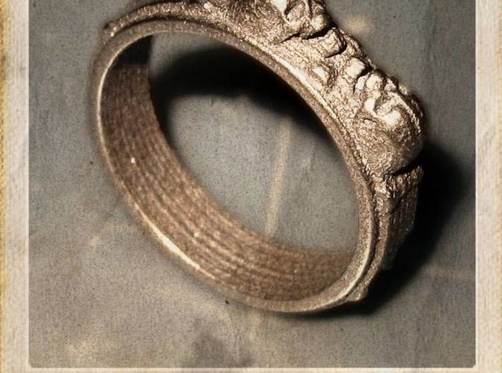 skullring - two skulls 3d printed Printed in bronze polished