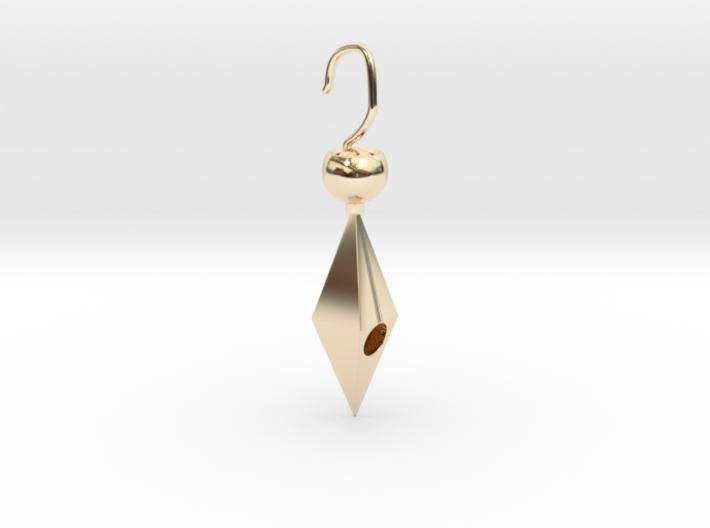 Golden cheap cute earring 3d printed