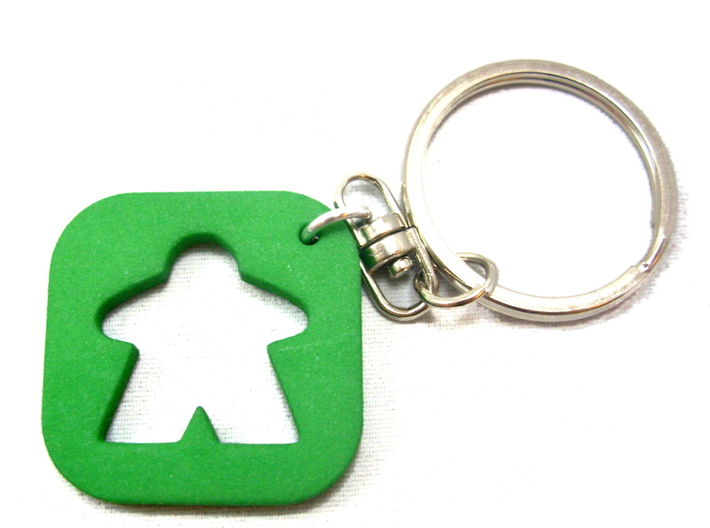 Meeple Keychain Silhouette, Board Game Keyring 3d printed Photo of key chain in green. Steel ring is not included.