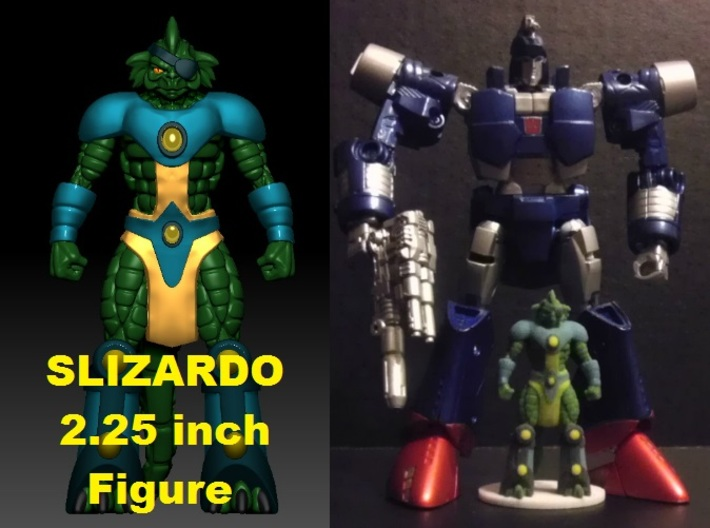 Slizardo homage Komodo 2.25inch Transformers Mini 3d printed 2.25 inch Slizardo printed in Full Color Sandstone with Generations Deluxe Class Scourge. Scourge figure sold separately