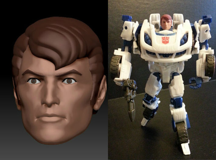 SPIKE Homage Exosuit Head For TF FOC JAZZ 3d printed Spike head printed in Full Color Sandstone on Generations Deluxe Class FOC Jazz. JAZZ body is fully transformable with head attached. Jazz figure sold separately.