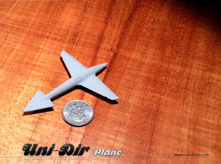 Uni-Dir Slim Plane Toy (88mm long) 3d printed