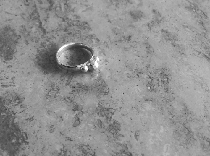 GeoJewel Ring UK Size R US Size 8 5/8 3d printed Polished Silver GeoJewel Ring
