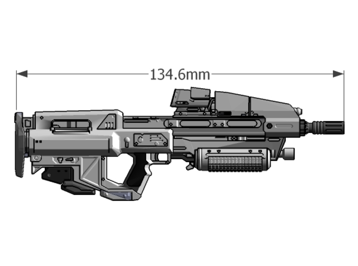 1:6 scale Sci-Fi Assault Rifle 3d printed Add a caption...