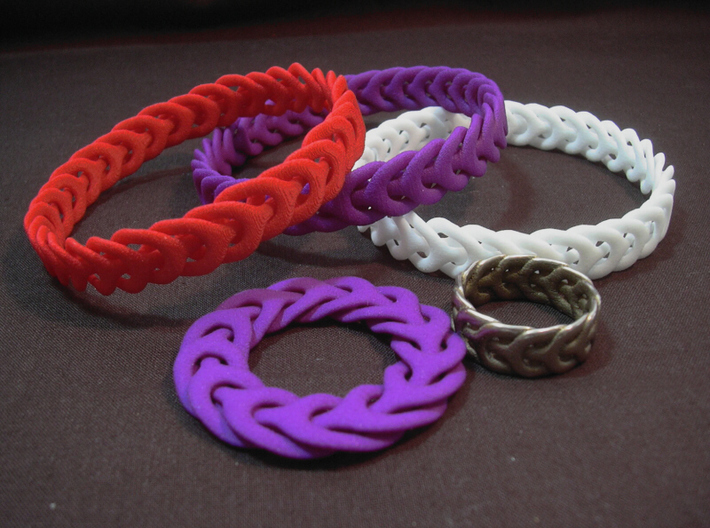 Three Phase bracelet 65mm 3d printed Photo - Bracelets in WSF, Purple S&F and Red S&F