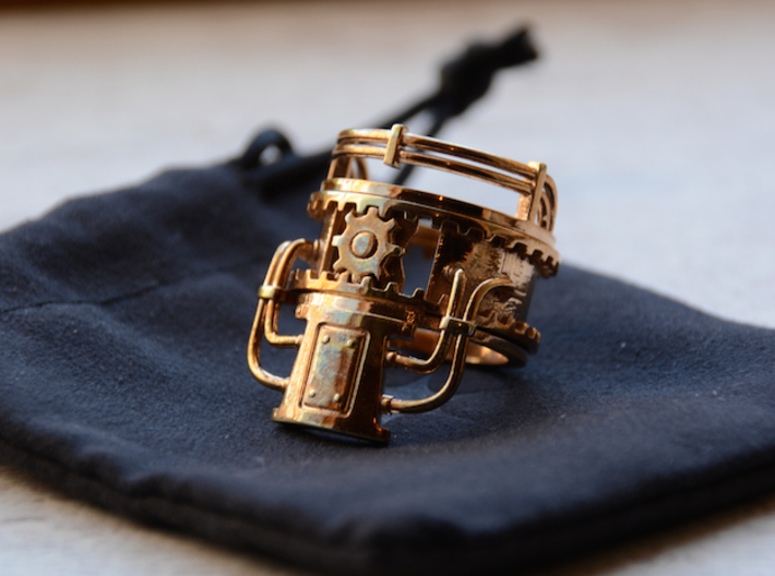Steampower Ring V3 3d printed Polished Bronze