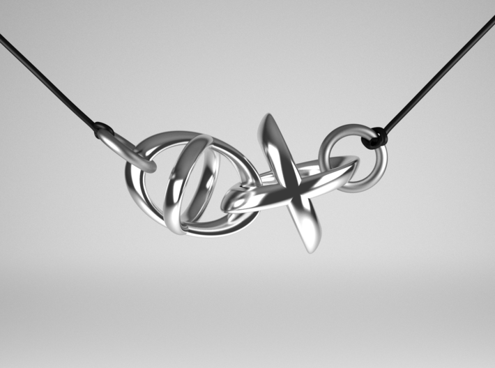 Hugs and Kisses Pendant - Part 2 3d printed Polished Silver