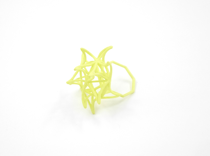 Aster Ring (Small) Size 9 3d printed Key Lime Nylon (Custom Dyed Color)