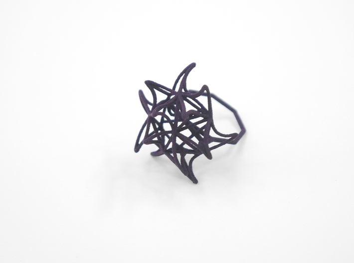 Aster Ring (Small) Size 8 3d printed Midnight Nylon (Custom Dyed Color)