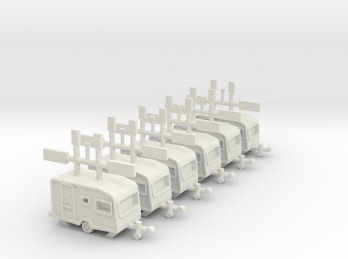 6 kleine Wohnwagen 1:220 (Z scale) 3d printed