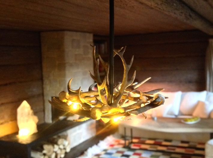 1:12 Antler Chandelier, miniature dollhouse 3d printed lit with 3 pico led lights