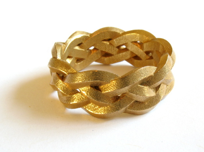Four-strand Braid Ring 3d printed Ring printed in raw brass