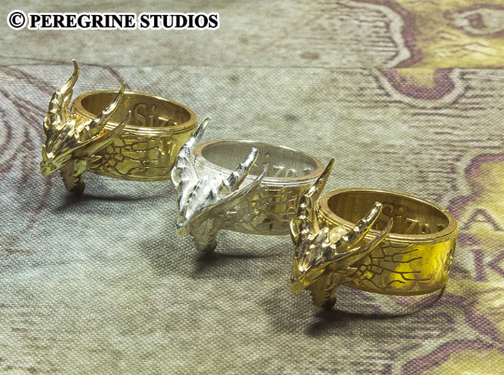 Ring - Deathring the Destroyer (Size 13) 3d printed Left to Right: Polished Brass, Polished Silver, Gold-Plated Brass
