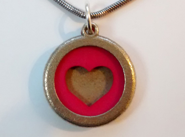 Heart Insert For Circular Frame Pendant 3d printed Stainless Steel Frame Pendant with Pink Strong and Flexible Heart Insert