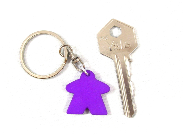 Meeple Keychain 3d printed Photo next to key for sizing