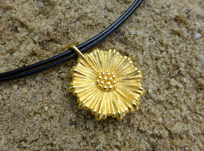 Coral Leptocyathus Pendant - Nature Jewelry 3d printed Leptocyathus pendant in polished gold steel
