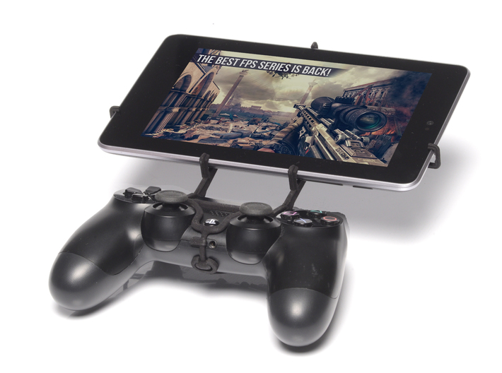 PS4 controller & HP Slate8 Pro 3d printed Front View - A Nexus 7 and a black PS4 controller
