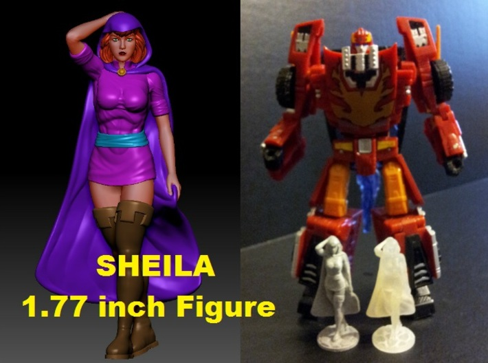 Sheila of D&D 1.77inch Figure 3d printed 1.77 inch Sheila printed in Polished Metallic Plastic and Frosted Ultra Detail (Clear material) with Generations Deluxe Class Rodimus figure. Rodimus figure sold separately.