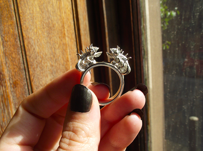 Twin Chameleon Ring 3d printed Silver Lizzard Ring