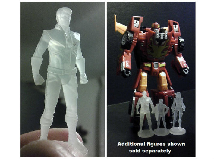 Spike homage Space Man 2inch Transformers Mini-fig 3d printed 2 inch Spike printed in Frosted Ultra Detail with other mini-figures i.e. Carly and Daniel (Each Sold Separately)