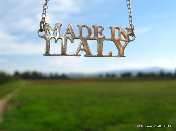 Made in ITALY Pendant 3d printed Premium Silver. The pendant is sold alone, it comes in a velvet pouch.